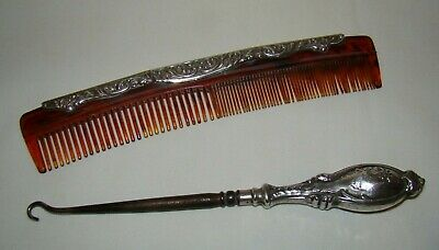 Antique Silver Handled Button Hook & Silver Topped Celluloid Hair Comb c1913