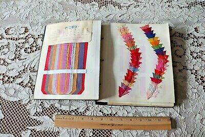 "French Antique c1910-20 Artificial Silk & Metallic Ribbon Sample Book~9.5""X 8.5"""