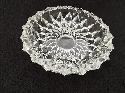 """Vintage Round Crystal CLEAR Pressed HEAVY Glass Cigar Cigarette Ashtray 5 1/2"""""""