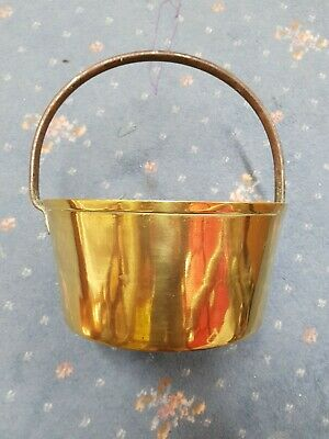 "Vintage brass jam kettle pan antique cooking pot 2 gallon 12"" diameter large"