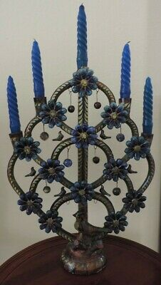 "Vintage Mexican Folk Art Collectible Candelabra ""Tree of Life"""