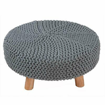 Large Grey Hand Knitted 100% Cotton Wooden Side End Coffee Table Foot Stool Rest