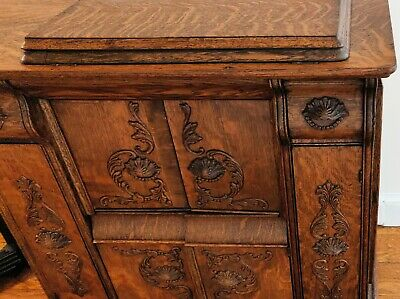 Antique Singer Treadle Sewing Machine Full Carved Oak Cabinet for Pick-Up only