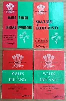 4 x Wales v Ireland Rugby Union Programmes 1961, 1965, 1967 and 1977