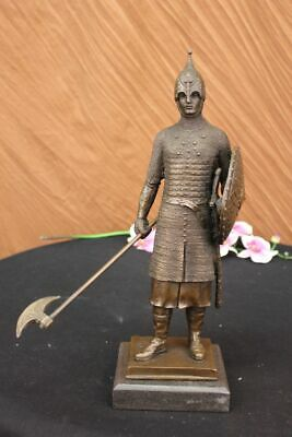 "15"" Tall Medieval Crusader Knight Templar Signed HotCast Bronze Statue Sculpture"
