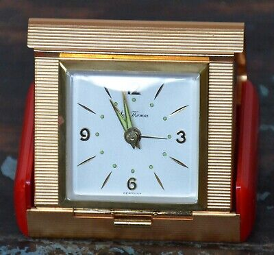 Vintage Seth Thomas 150 Exclusive Travel Alarm Clock Made In Germany Red & Gold