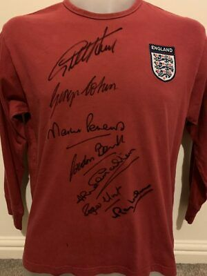 Signed England 1966 World Cup Autograph Retro Shirt Hurst Peters Banks Proof (2)