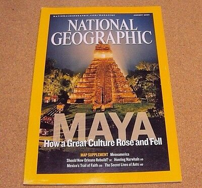 National Geographic August 2007 Maya Culture New Orleans Narwhals Lives of Ants
