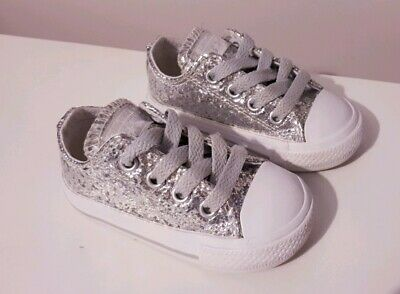 Converse Infant Size 4 Silver Glitter Sparkle Toddler Girls All Star Low Tops