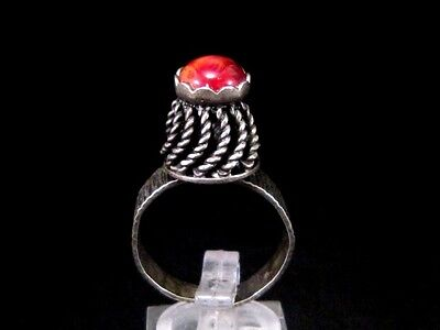 Magnificent Vintage Large Silver Filigree Ring, Red Stone!!!
