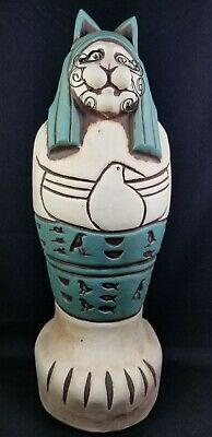 """VTG 1990's Signed Cindy Butler Jones 12-in """"Mummy Cat"""" Bank, Wire Whiskers/Mint"""
