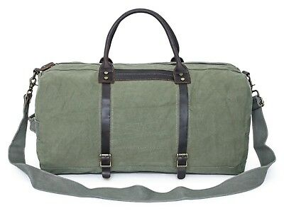 Canvas Leather Travel Duffel Bag Carry-on Weekend Bag, Carryon Oversized Bag