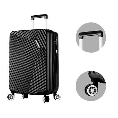 "Luggage Set Travel Bag Trolley Spinner Carry On Suitcase 24"" Black"