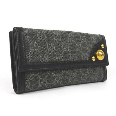 GUCCI 269903 GG pattern Double Sided Two fold purse black Cotton canvas/wool...
