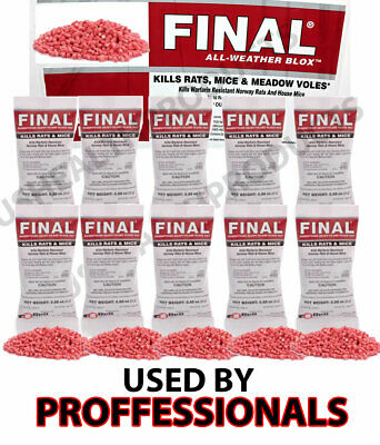 Just One Bite Poison 10 pack Final Mice Rat Mouse Rodent Professional 125 Grams