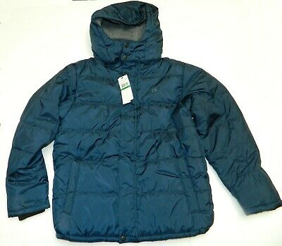 Calvin Klein Jeans Big Boy's Puffer Jacket Removable Hood Navy Size Large 14-16
