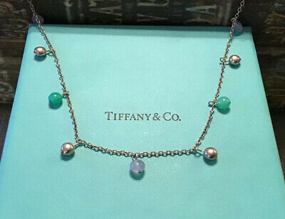 Tiffany & Co Sterling Silver Blue Chalcedony Chrysoprase Bead Ball Necklace