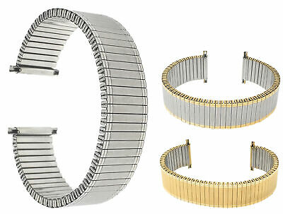 Bandini Steel Stretch Watch Strap, Expansion Watch Band Silver, Gold 12mm-22mm