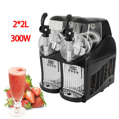 2 Tank 4L 300W Slushy Frozen Drink Machine Slush Making Machine Commercial 110V