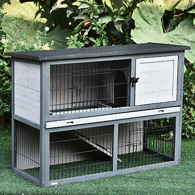 PawHut Wooden Rabbit Hutch w/ Upper House & Lower Play Area, Bunny/Small Animals