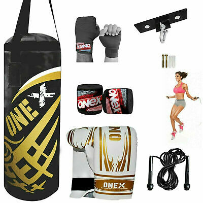 MMA Punch Bag 2FT Filled Heavy Kids Boxing Punching Set Gloves Gym Training