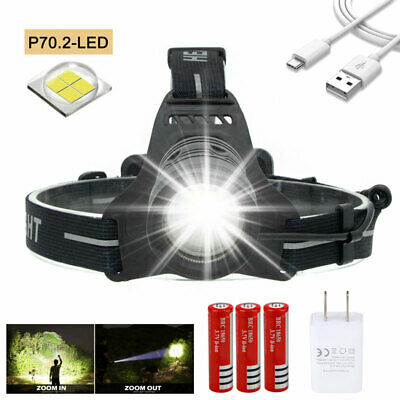 Rechargeable 90000LM 30W XHP70.2 LED Headlamp Zoomable Spotlight USB Torch 18650
