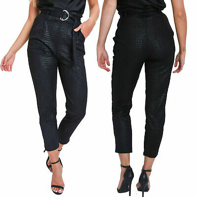 New Womens High Waist Snake Croc Reptile Print Belted Slim Fit Pants Trousers