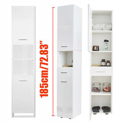 White Tall Bathroom Cabinet Cupboard Tallboy Chest Drawer High Gloss or Matt Ty