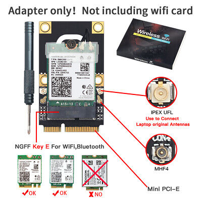 M.2 NGFF Key A A+E to PCIe WiFi Converter Adapter BT Card for Intel AX200NGW etc