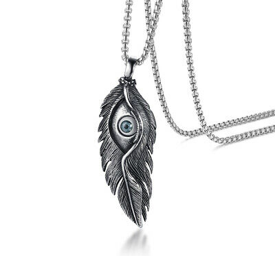 Vintage Eye Feathers Men Pendant Necklace Ancient Silver Stainless Steel Jewelry