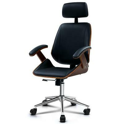 Artiss Wooden Office Chair Computer Gaming Chairs Executive Leather Black