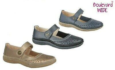 Ladies Extra Wide Eee Fit Leather Shoes Touch Fastening Navy Black Size 3 - 9 Uk