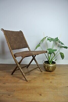 Antique French Colonial Faux Bamboo Folding Campaign Chairs Restoration Project