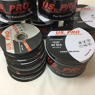 "100 x Metal Cutting/Slitting Disc Ultra Thin 115mm (4-1/2"") X 1mm fast stainless"