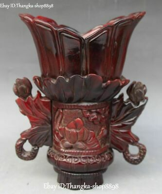 """8"""" China Ox Horn Oxhorn Carving Lotus Flower cann Goblet wineglass Jazz Cup"""