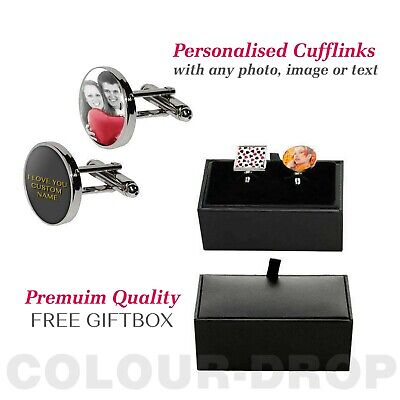 Personalised Cufflinks With Text Photo Logo Custom Printed Valentines Day Gift