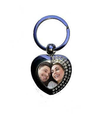 Personalised heart keyring valentine gift Custom printed picture and engraved