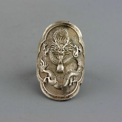 Collect China Old Miao Silver Hand-Carved Exorcism Dragon Moral Auspicious Ring