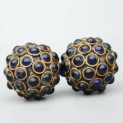 Collectable China Antique Brass Inlay Zircon Carve A Pair Delicate Ball Statue