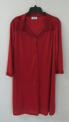 Vanity Fair Robe Medium Vintage Womens Red Button Front Silky M Housecoat Lounge