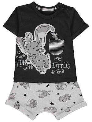 Disney Baby Boys Dumbo Top and Shorts Outfit 0-18 Months Tshirt Shorts NEW