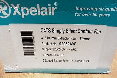 XPELAIR SIMPLY SILENT CONTOUR FAN C4TS 4'' 100mm NEW