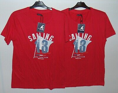 Lot de 2 T-Shirts Rouges Homme Grand Voile 100% Coton