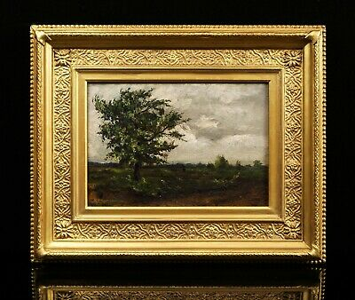 Barbizon Style 19th Century Impressionist Landscape Oil Painting | Antique Frame