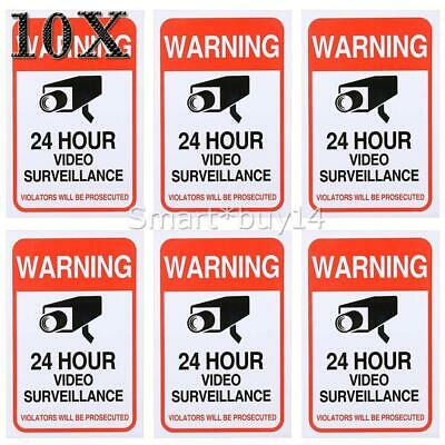 10PCS Home CCTV Surveillance Security Camera Video Sticker Warning Decal Signs
