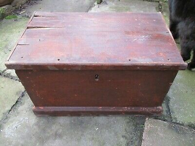 Old antique hand made wooden tool box chest
