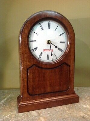 Vtg Beefeater Gin Solid Wood Clock Bar Man Cave Decoration