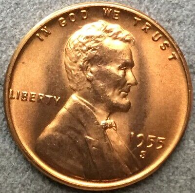 "UNCIRCULATED 1955 P Lincoln Wheat 1c/""BLAZING BRIGHT/""GEM BU//RED/'s from OBWR.99S/&H"