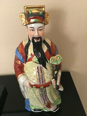 Chinese Porcelain Statue Lu god of good fortune, Antique Vintage ~19""