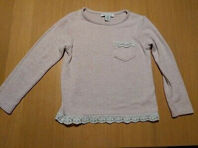 PRIMARK Pale Pink Girls Thin Jumper Sweater Top White Pocket Lace Trim 3-4 Years